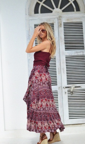 Boheme Wrap Skirt in Sangria