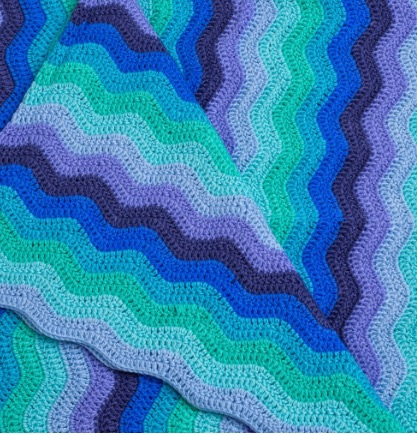 Ripple Baby Blanket Sky - Hand Crocheted