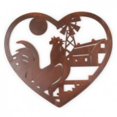 Rooster In Heart Laser Cut Wall Hanging