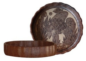 BOWL WITH CARVED FISH RELIEF