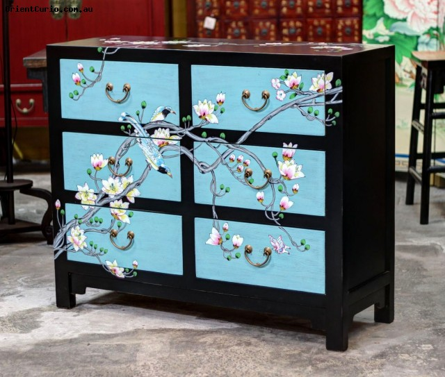 Chinese Black and Blue Lacquer Painted C