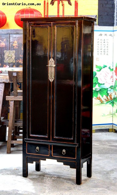 Black Lacquer 2 Door Chinese Style Small