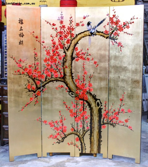 Gold Background Tree and Birds Lacquer P
