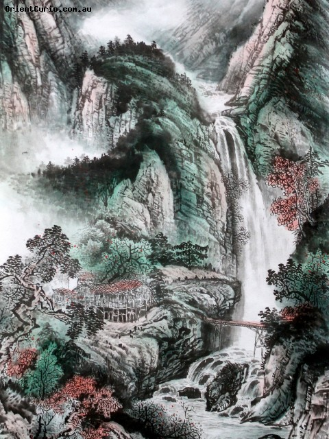 Chinese Water Ink Painting Scroll The Wa