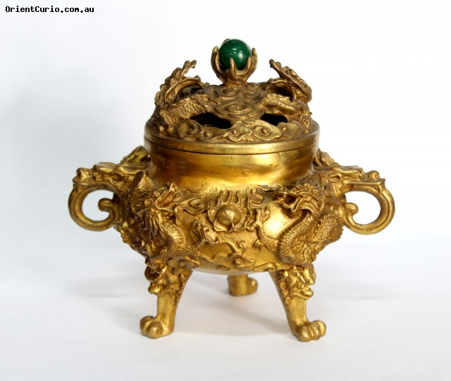 Brass Incense Burner Bowl with Double Dr
