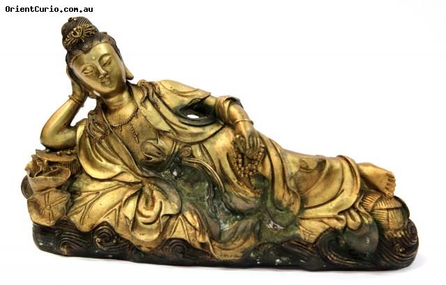 Brass Reclining Guan Yin Figure
