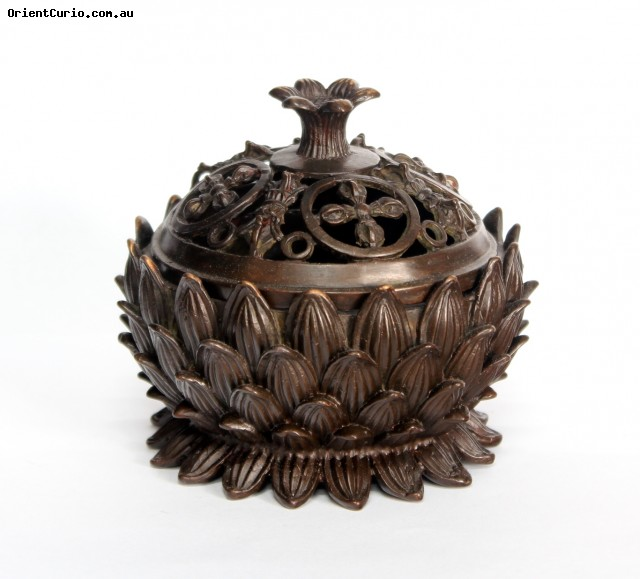 Brass Incense Burner Bowl with Lotus Dec