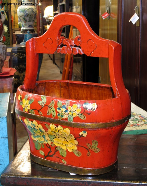 Chinese Style Red Lacquer Painted Bucket