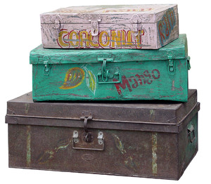 Vintage Iron Case/Trunk - Funky painted
