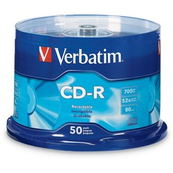 VERBATIM RECORDABLE CD'S CD-R 80Min 52X