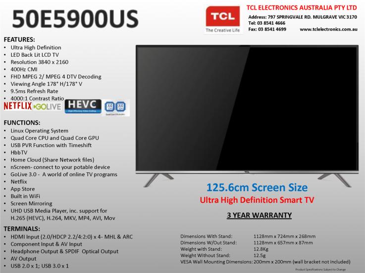 TCL 50E5900US 50
