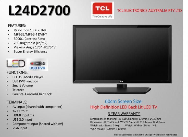 TCL L24D2700 HD LED LCD TV 24