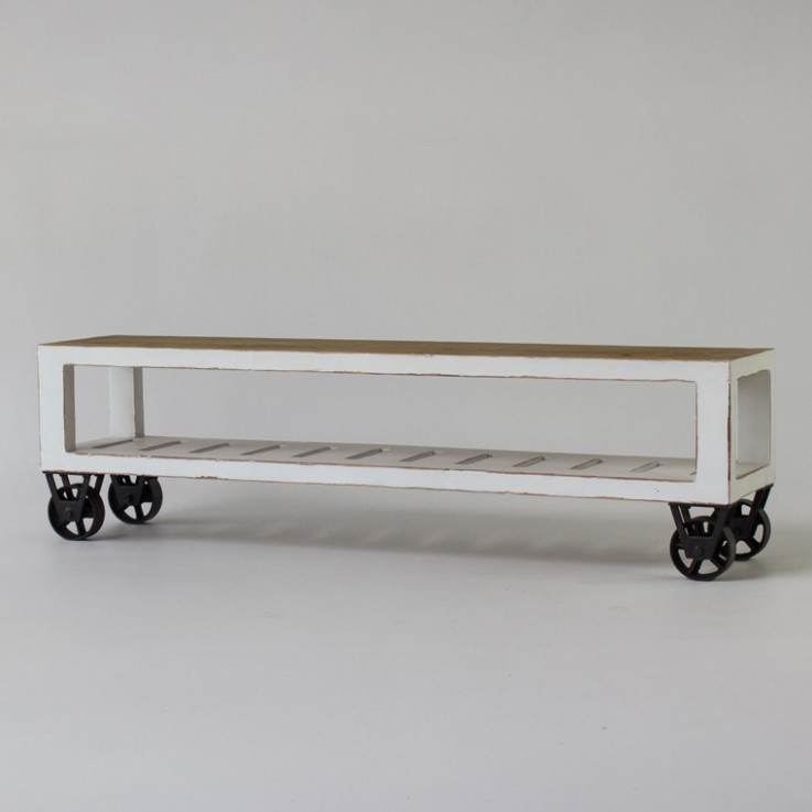 Industrial Low TV Console with wheels