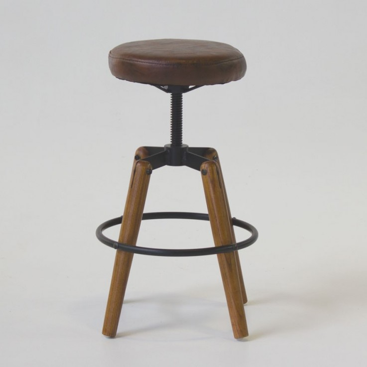 Vintage style stool with padded seat