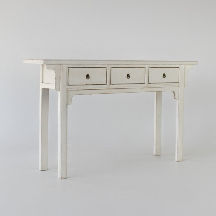 Chinese old console with 3 drawers in wh