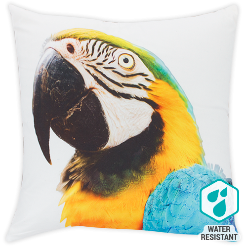 DWBH Parrot cushion in yellow