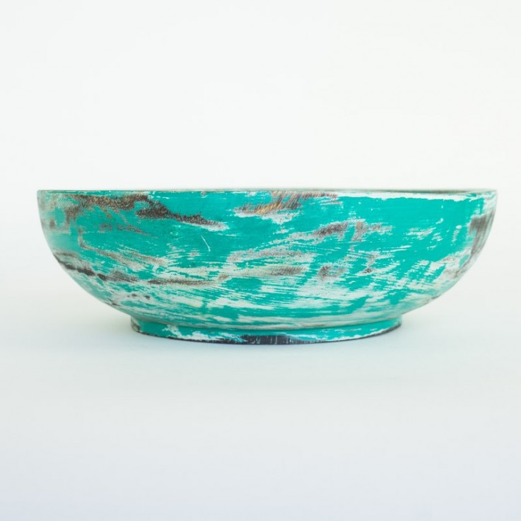 Wooden large bowl in turquoise