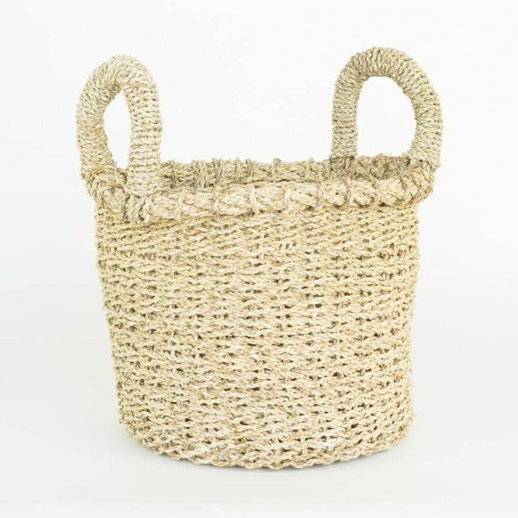 Chunky small basket with handles in natu