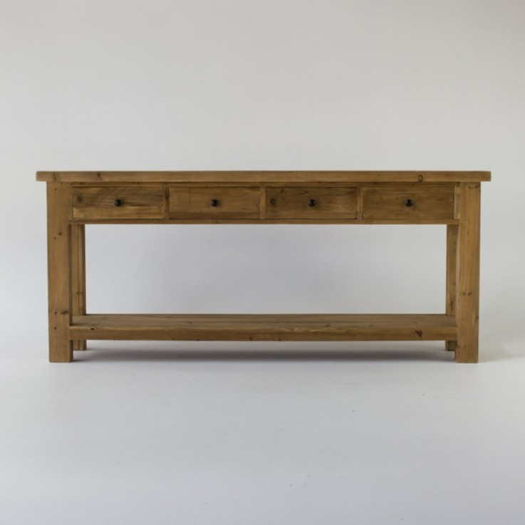 Bleached Console Table with 4 drawers