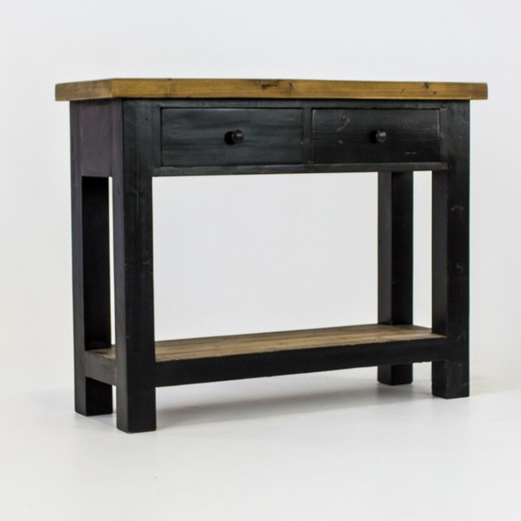 Beach console with 2 drawers in black