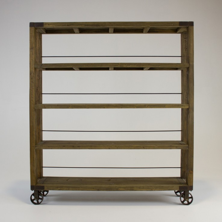 Industrial Bookcase with wheels