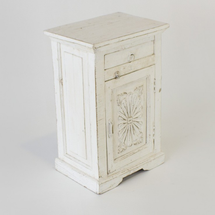 Indian bedside table with carved door in
