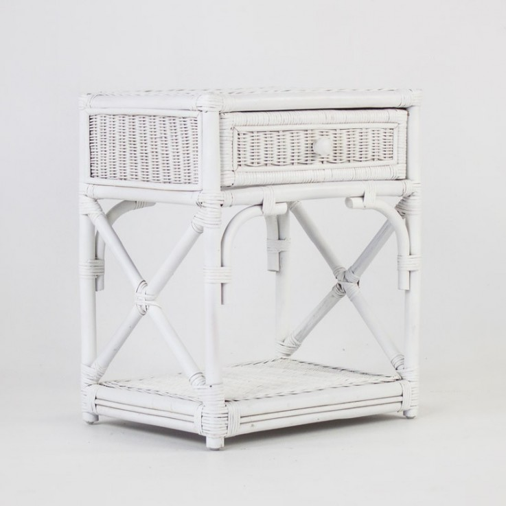 Caribbean rattan bedside table white