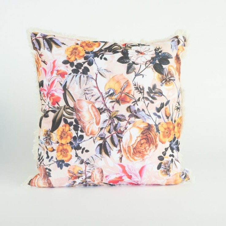 Whimsical garden cushion in pink