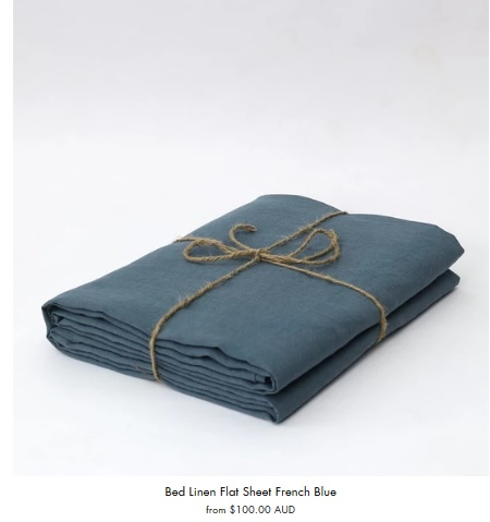 100 % Linen French Blue Bed Sheet Set