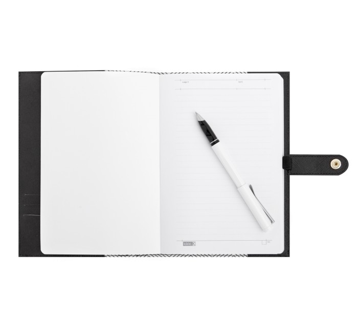 TEXTURED A5 LEATHER NOTEBOOK: BLACK
