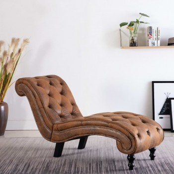 CHAISE LOUNGE BROWN FAUX SUEDE LEATHER