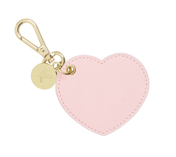 LEATHER KEY RING HEART: PINK