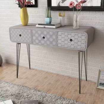 Console Table With 3 Drawers Grey