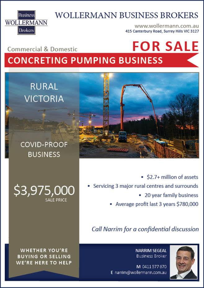 Concreting Pumping Business for Sale in Rural Victoria