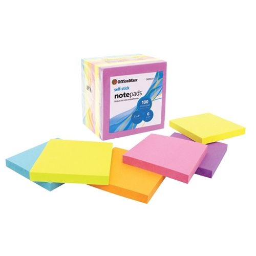 OfficeMax Self-Stick Notes Brights 76x76