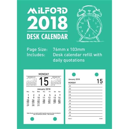 Milford Desk Calendar Top Opening Refill