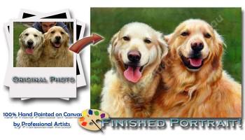 Get Hand-painted Custom Pet Portraits