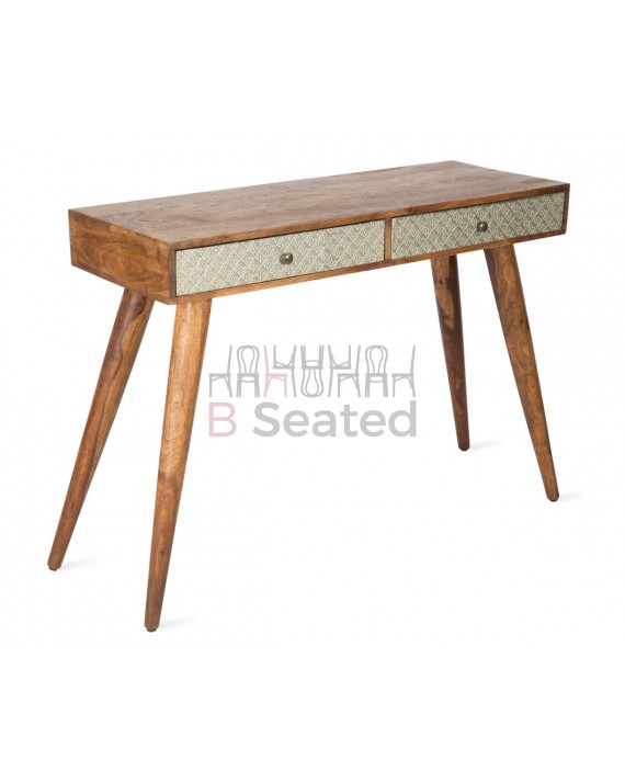 WOODEN 2 DRAWER CONSOLE WITH WHITE METAL