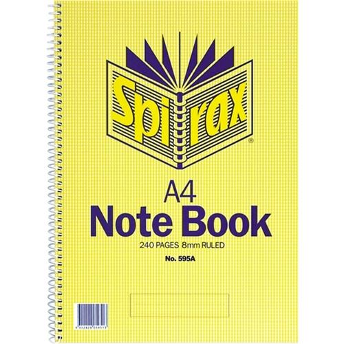 Spirax A4 Spiral Notebook 7mm Ruled 240