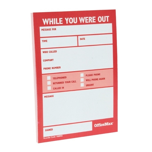 OfficeMax While You Were Out Message Pad