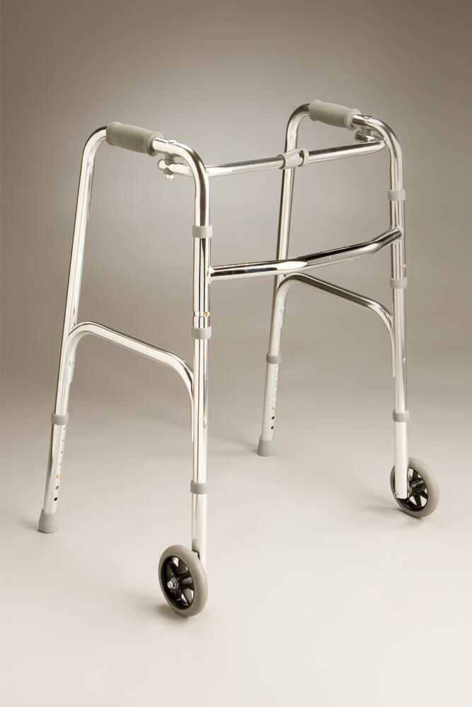 Folding Walking Frame with Fixed Wheels