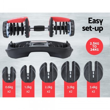Everfit 2 x 24KG Adjustable Dumbbells Se