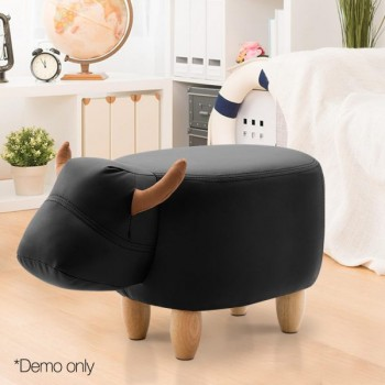 Artiss Kids Cow Animal Stool – Black