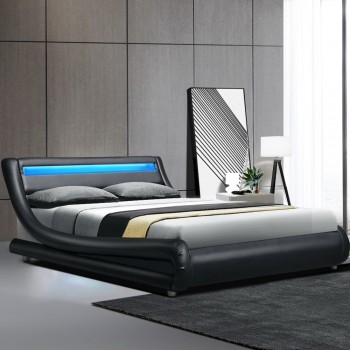 LED DOUBLE BED FRAME BLACK