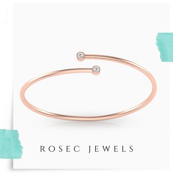 Round Diamond Spring Cuff Bracelet,