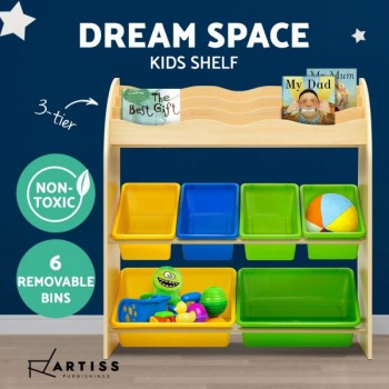 Artiss Kids Bookshelf Toy Bin Storage