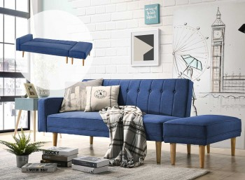 3 Seater Fabric Sofa Bed with Ottoman –