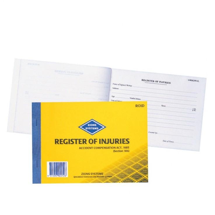 ZIONS RI REG OF INJURIES BOOK Register O