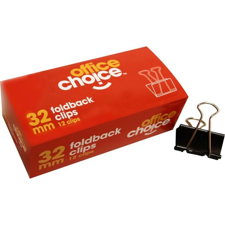 OFFICE CHOICE FOLDBACK CLIPS 32mm Box12