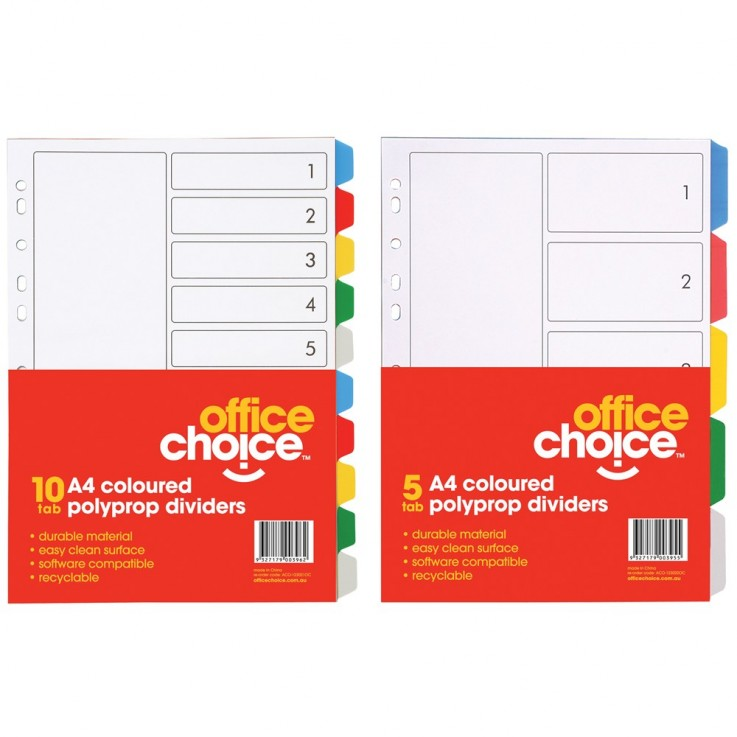 OFFICE CHOICE DIVIDERS A4 5Tab Coloured